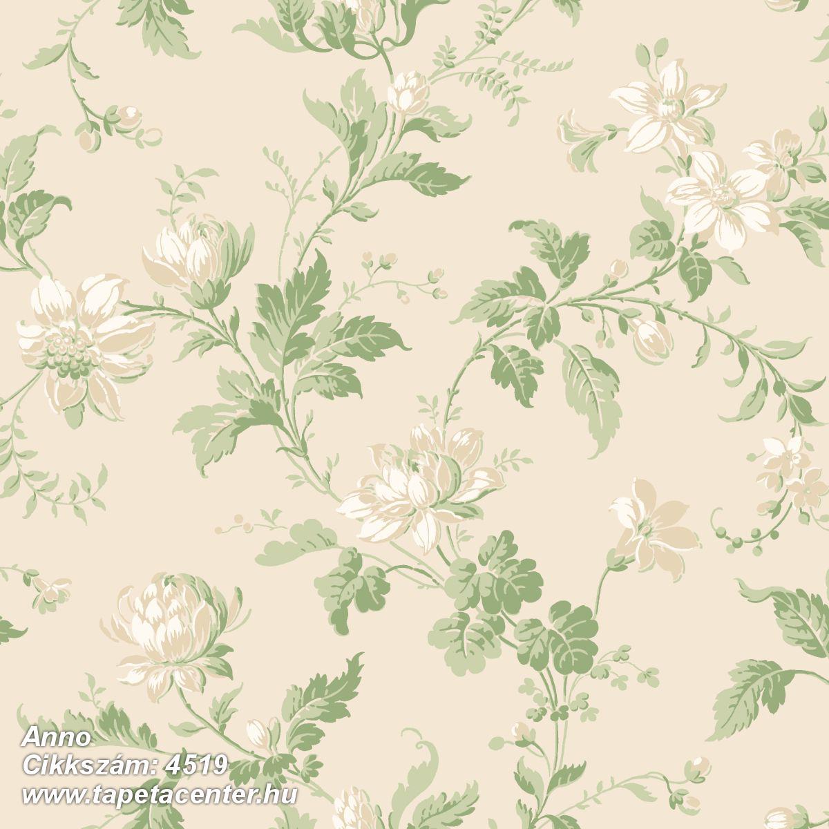 Különleges motívumos,virágmintás,bézs-drapp,vajszín,zöld,lemosható,vlies tapéta