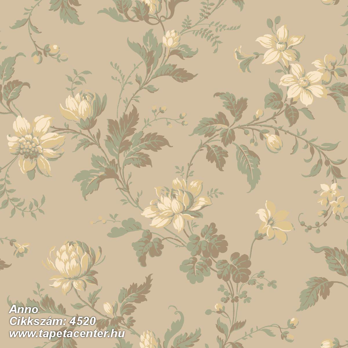 Természeti mintás,virágmintás,barna,bézs-drapp,szürke,vajszín,zöld,lemosható,vlies tapéta