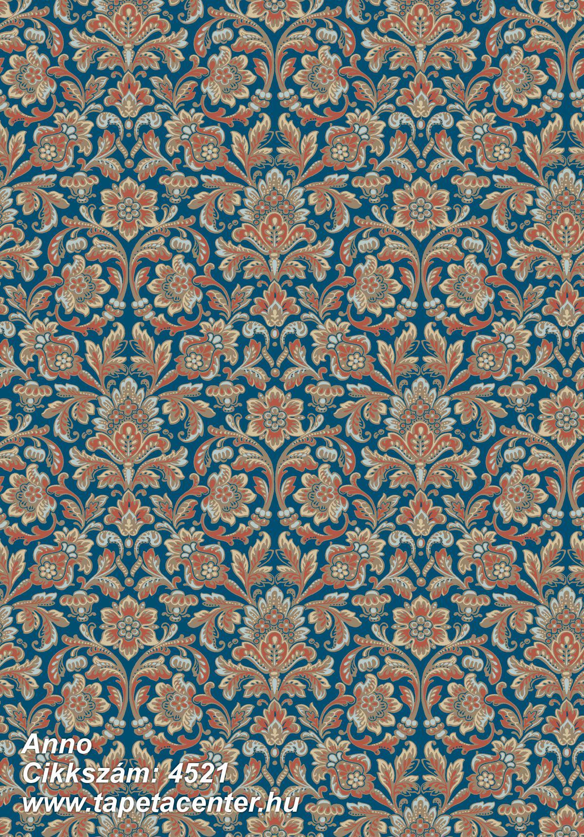 Barokk-klasszikus,kék,narancs-terrakotta,szürke,lemosható,vlies tapéta
