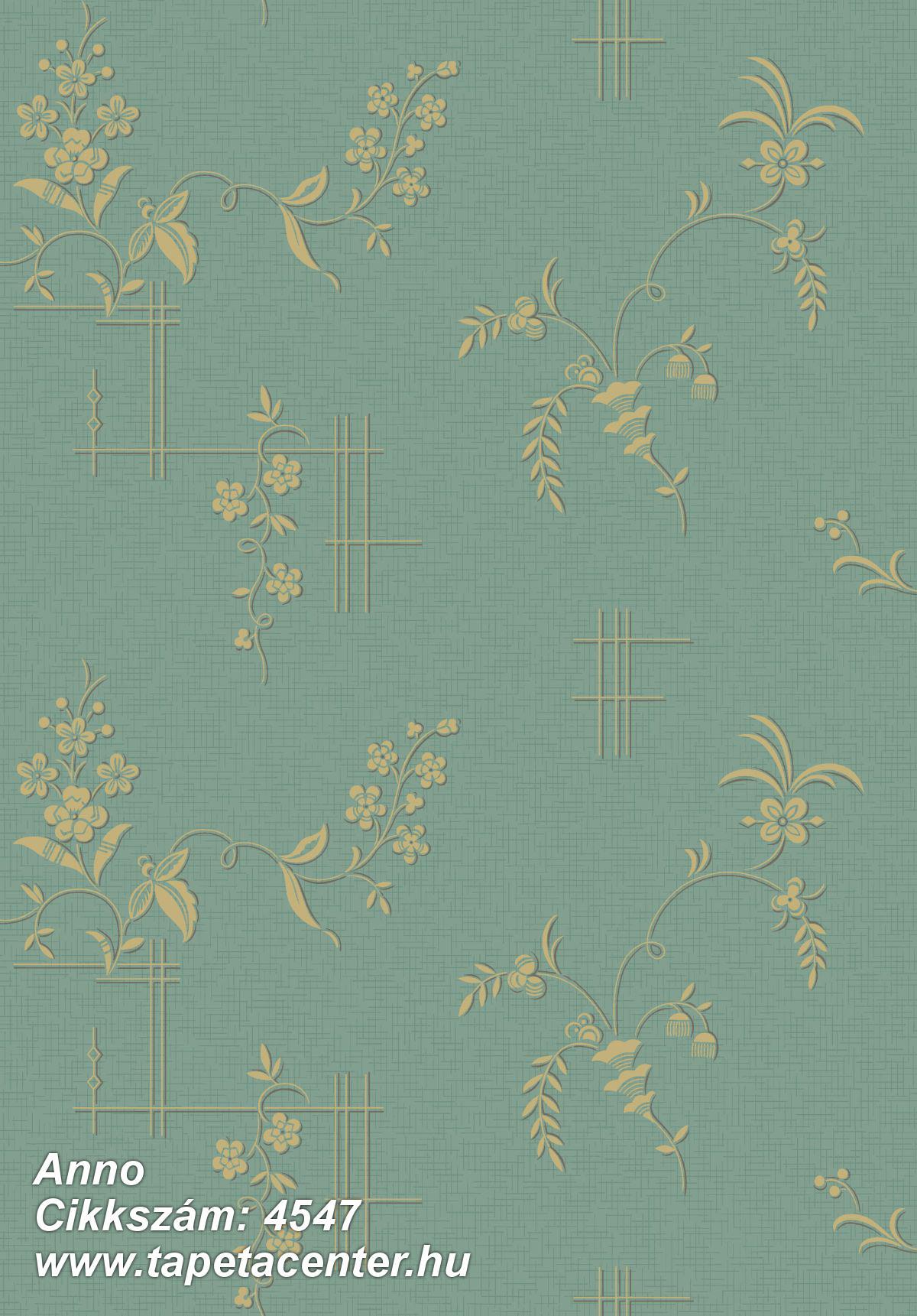 Barokk-klasszikus,természeti mintás,virágmintás,arany,türkiz,lemosható,vlies tapéta