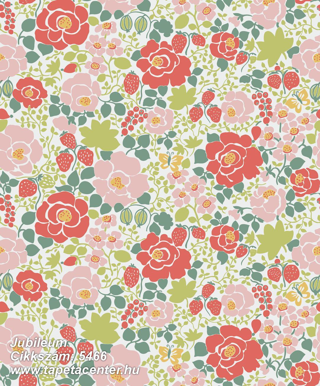 Retro,természeti mintás,virágmintás,fehér,narancs-terrakotta,pink-rózsaszín,piros-bordó,zöld,lemosható,vlies tapéta