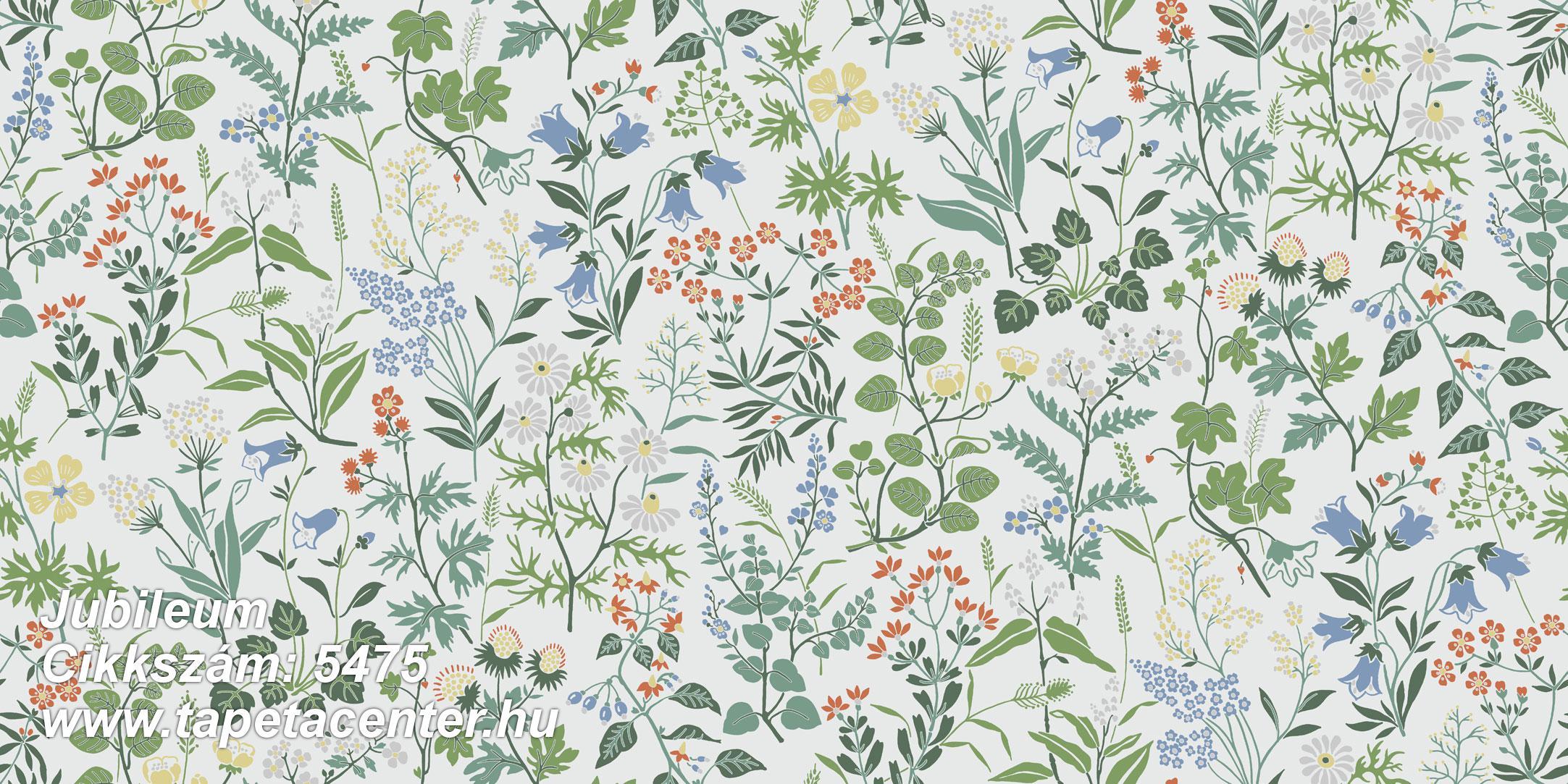 Rajzolt,retro,természeti mintás,virágmintás,fehér,kék,narancs-terrakotta,piros-bordó,sárga,zöld,gyengén mosható,vlies tapéta