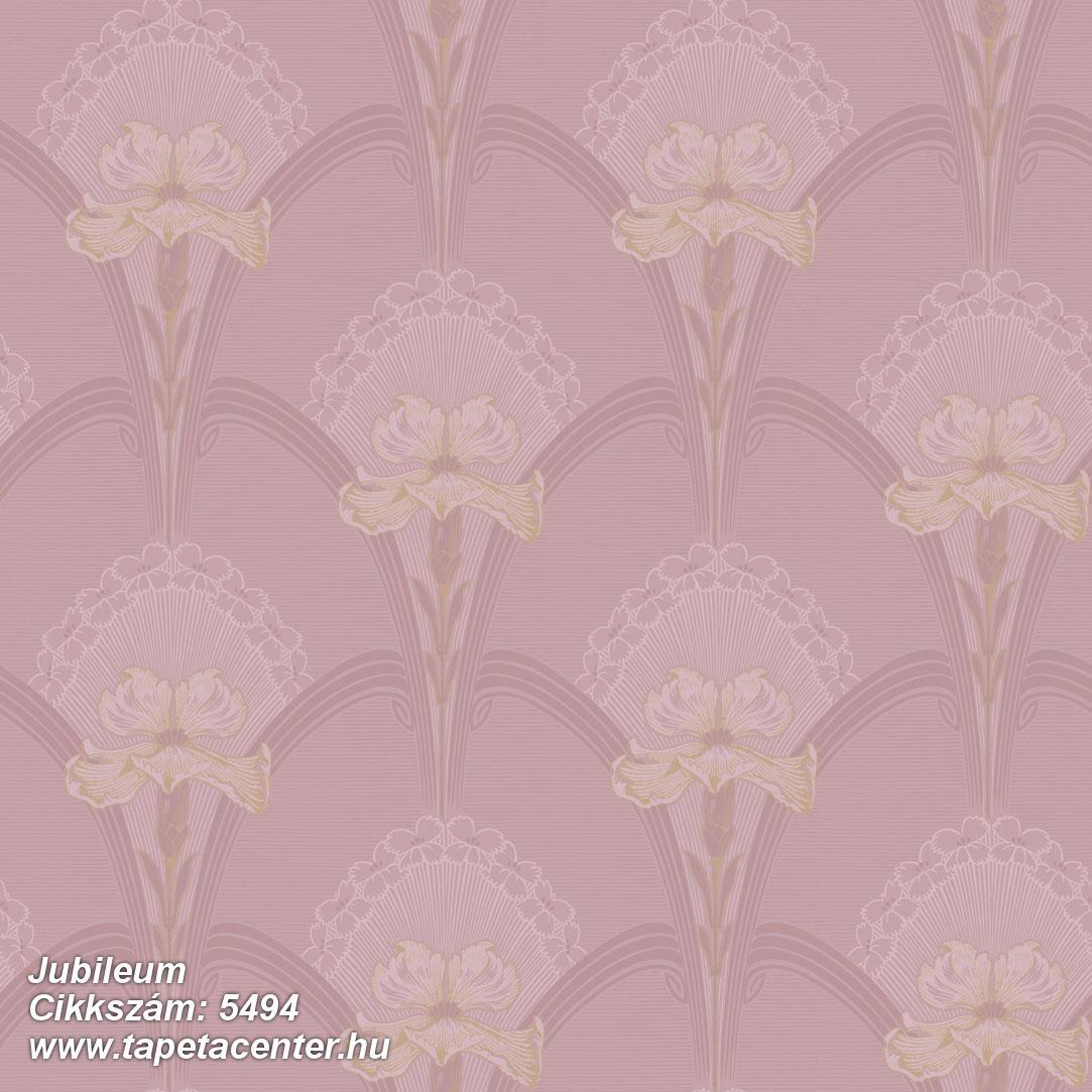 Geometriai mintás,rajzolt,virágmintás,barna,pink-rózsaszín,lemosható,vlies tapéta