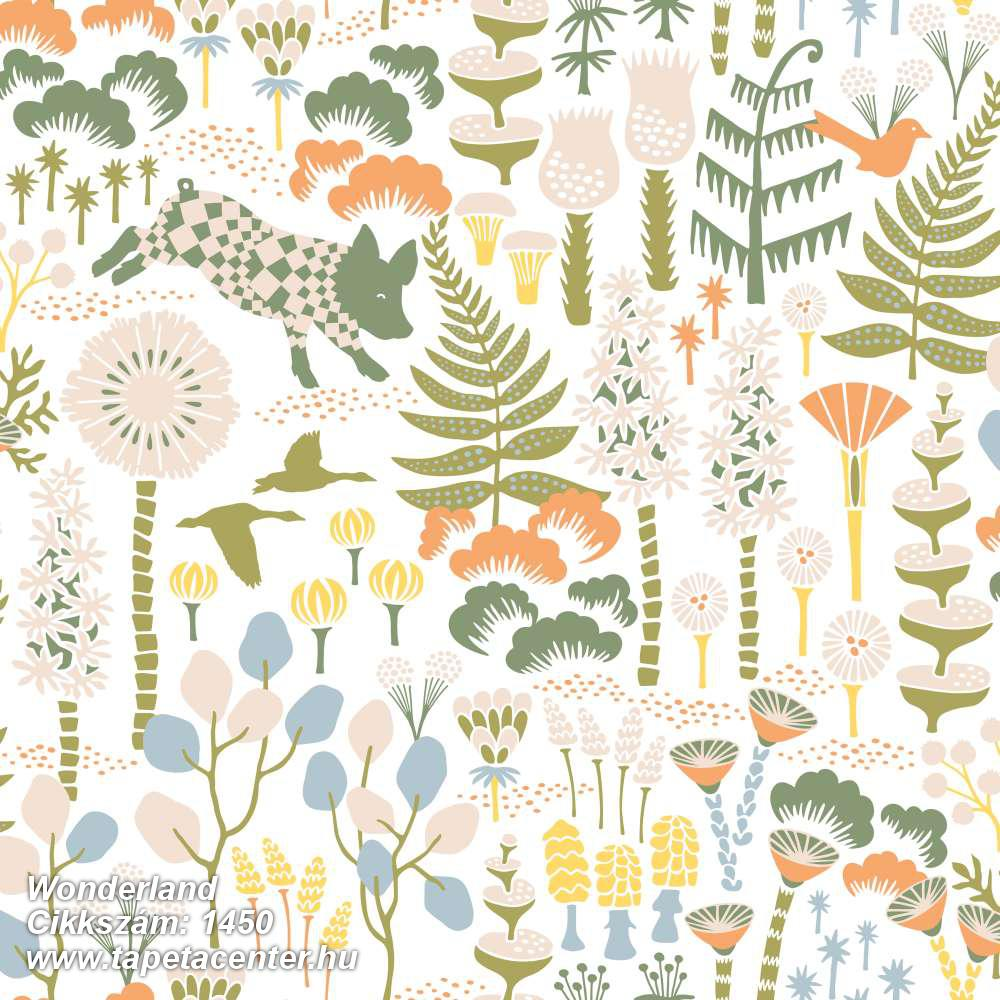 állatok,gyerek,rajzolt,természeti mintás,virágmintás,bézs-drapp,fehér,kék,zöld,lemosható,vlies tapéta