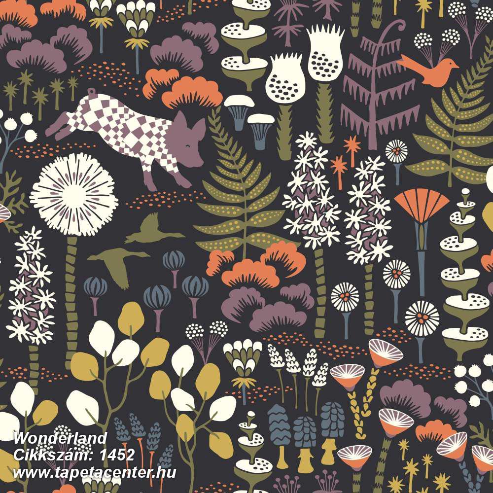 Absztrakt,állatok,gyerek,rajzolt,természeti mintás,virágmintás,fehér,fekete,lila,narancs-terrakotta,sárga,zöld,lemosható,vlies tapéta