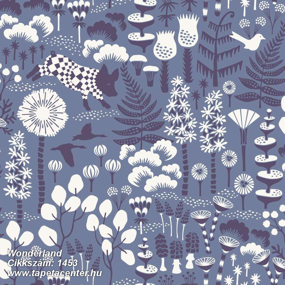 állatok,gyerek,rajzolt,természeti mintás,virágmintás,fehér,kék,lemosható,vlies tapéta
