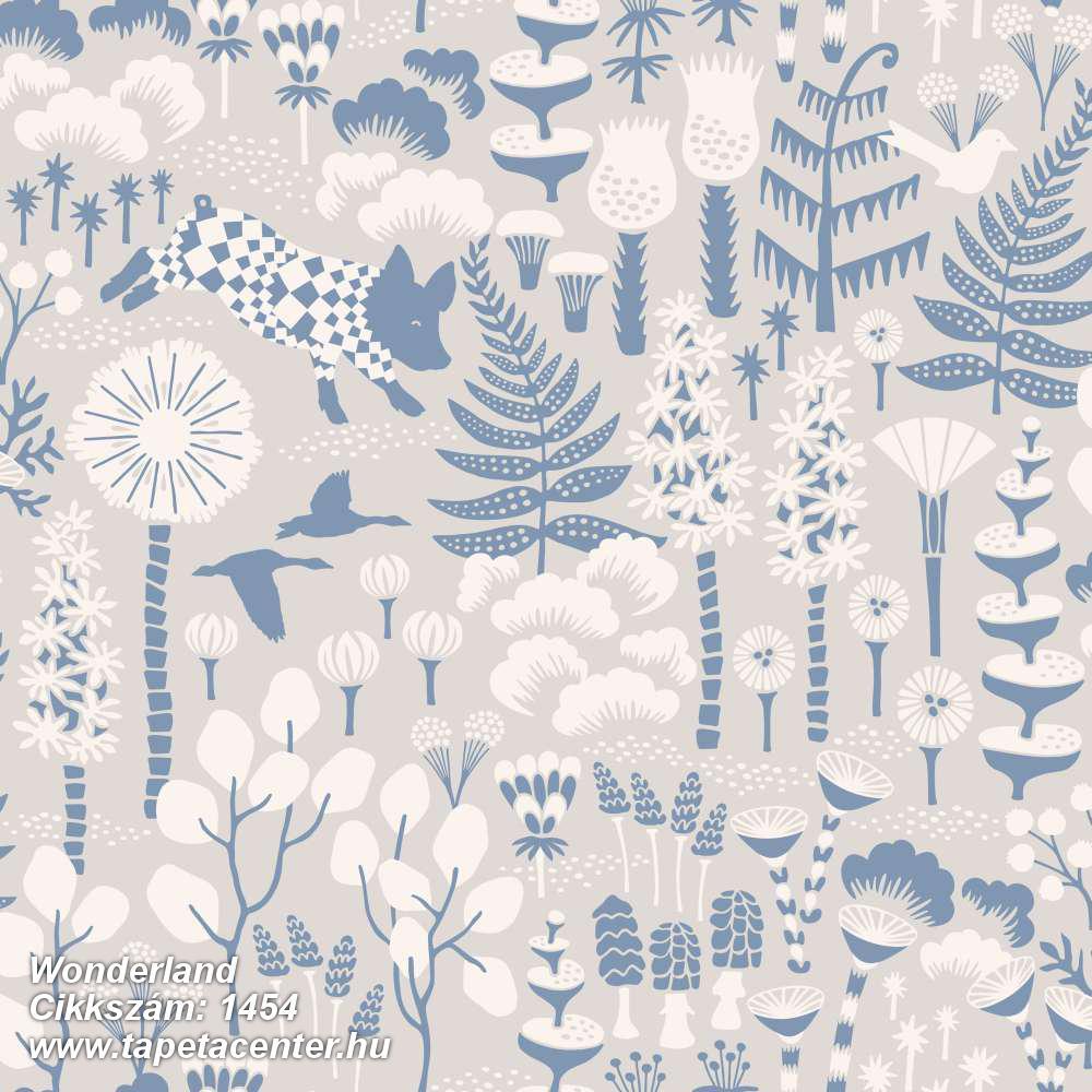 állatok,gyerek,rajzolt,természeti mintás,virágmintás,bézs-drapp,fehér,kék,szürke,lemosható,vlies tapéta