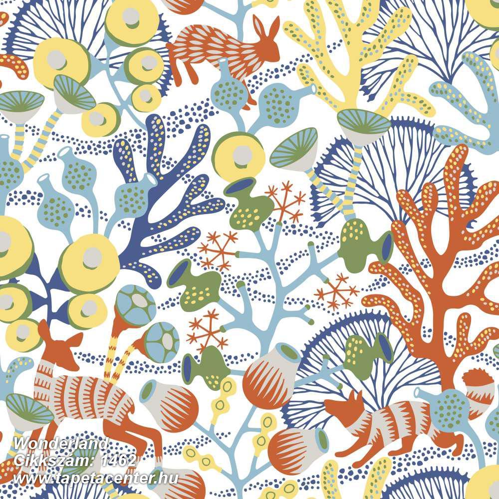 Absztrakt,állatok,gyerek,rajzolt,természeti mintás,fehér,kék,narancs-terrakotta,sárga,szürke,zöld,lemosható,vlies tapéta