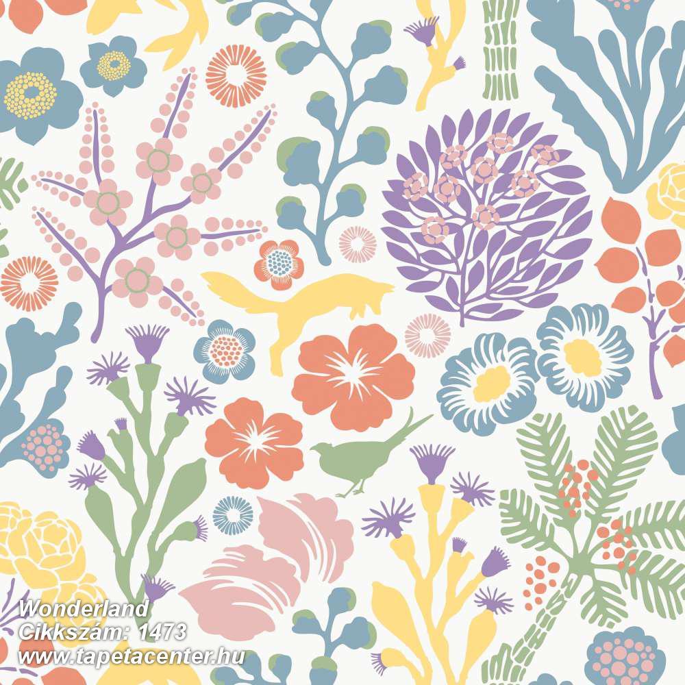 Absztrakt,állatok,gyerek,rajzolt,természeti mintás,virágmintás,zöld,fehér,kék,lila,narancs-terrakotta,sárga,lemosható,vlies tapéta