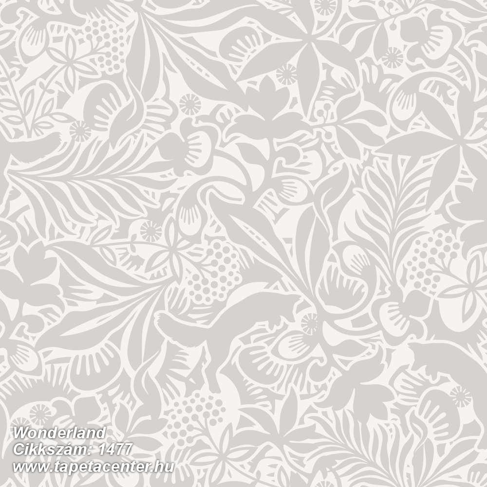 Absztrakt,gyerek,rajzolt,virágmintás,fehér,szürke,lemosható,vlies tapéta