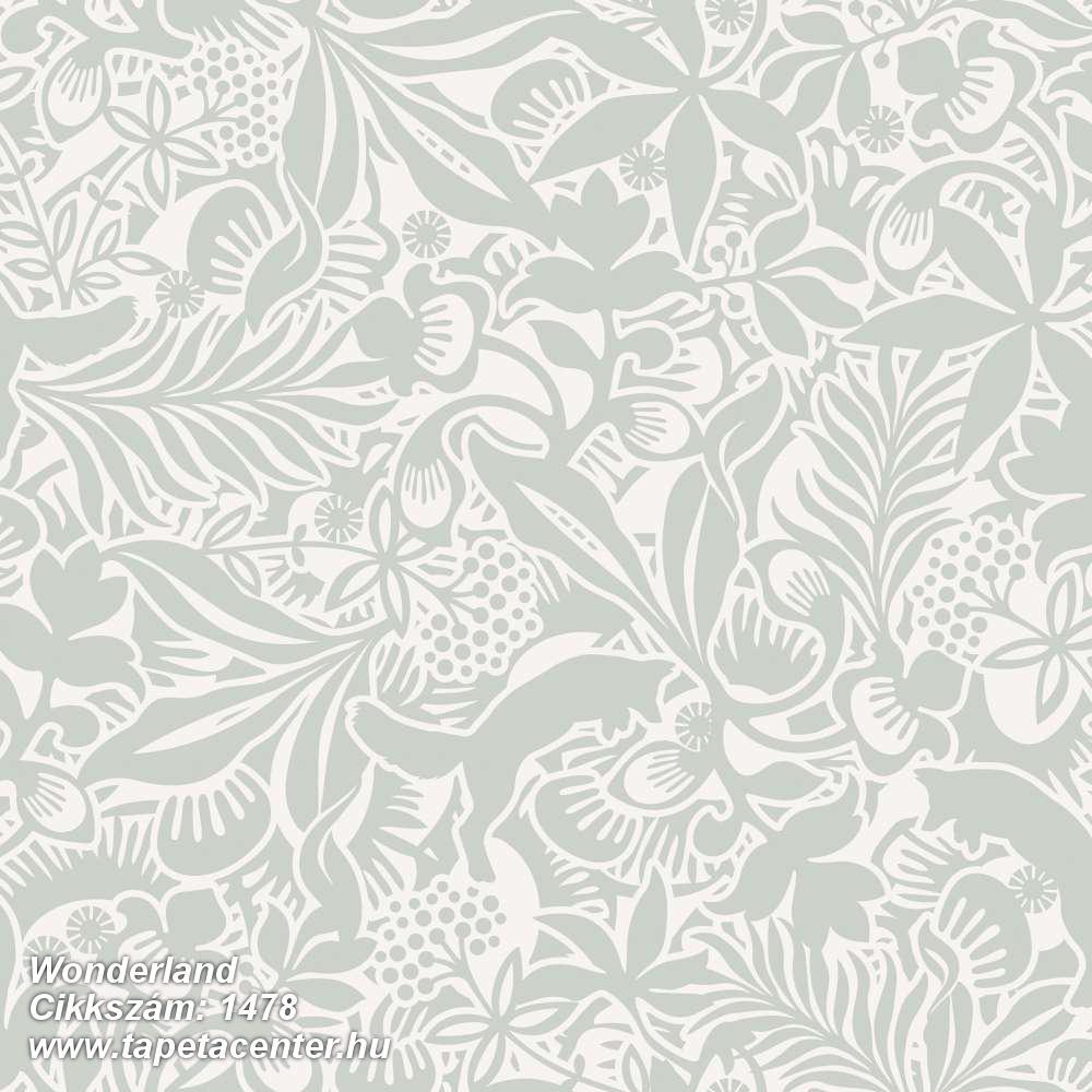 Absztrakt,gyerek,rajzolt,természeti mintás,virágmintás,fehér,szürke,zöld,lemosható,vlies tapéta