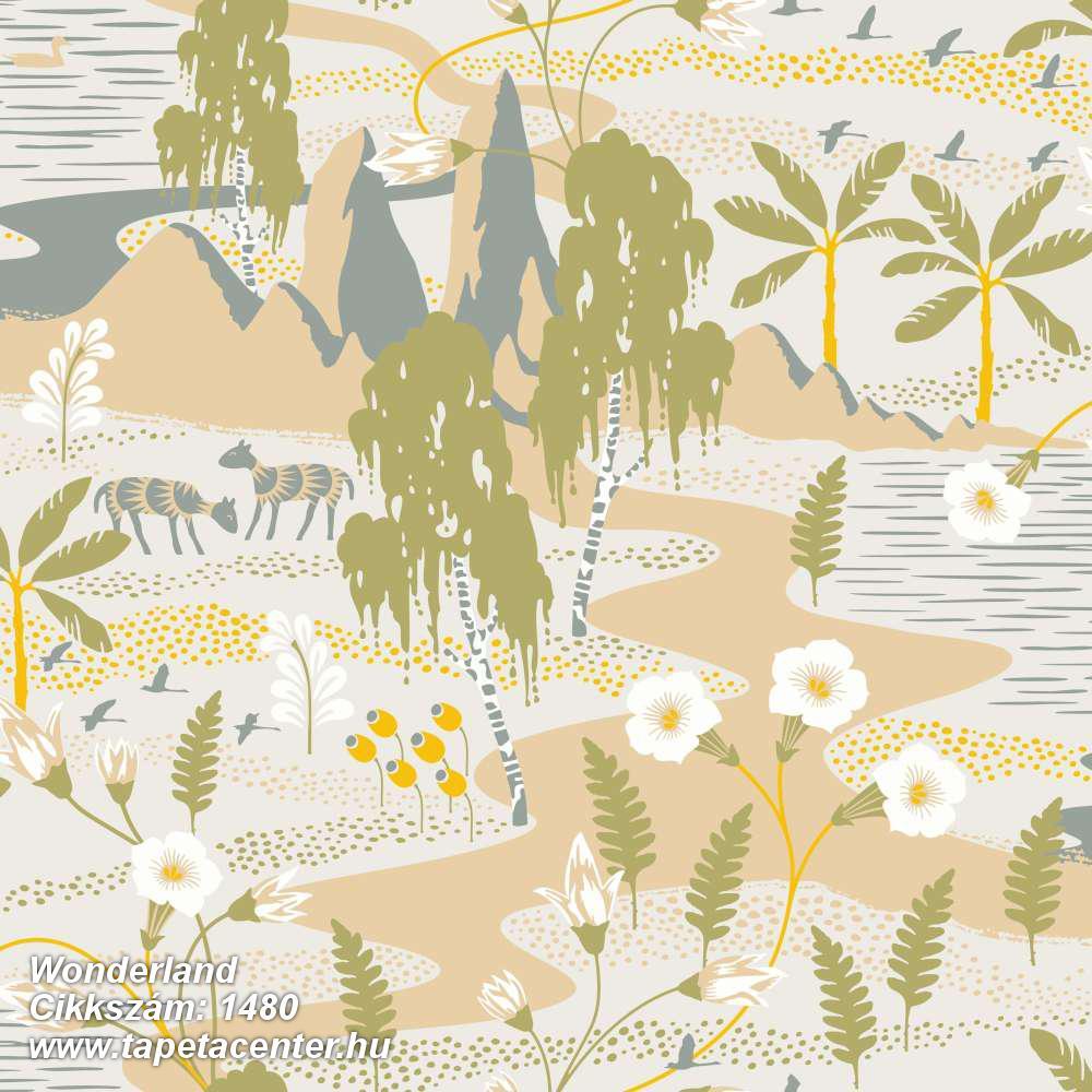 Absztrakt,állatok,gyerek,rajzolt,természeti mintás,virágmintás,bézs-drapp,fehér,kék,sárga,szürke,zöld,lemosható,vlies tapéta
