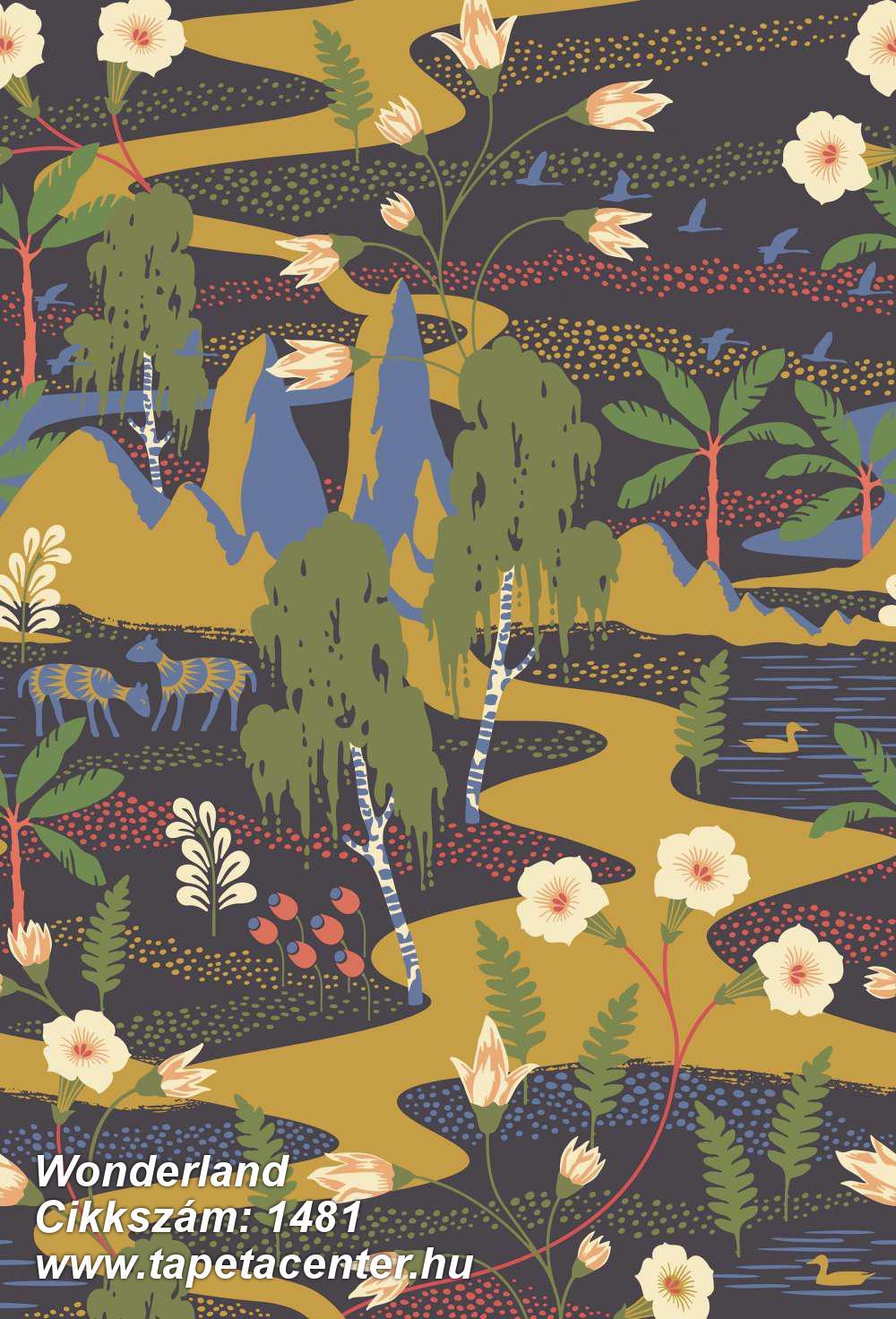 Absztrakt,állatok,gyerek,rajzolt,természeti mintás,virágmintás,bézs-drapp,fekete,kék,sárga,zöld,vlies panel