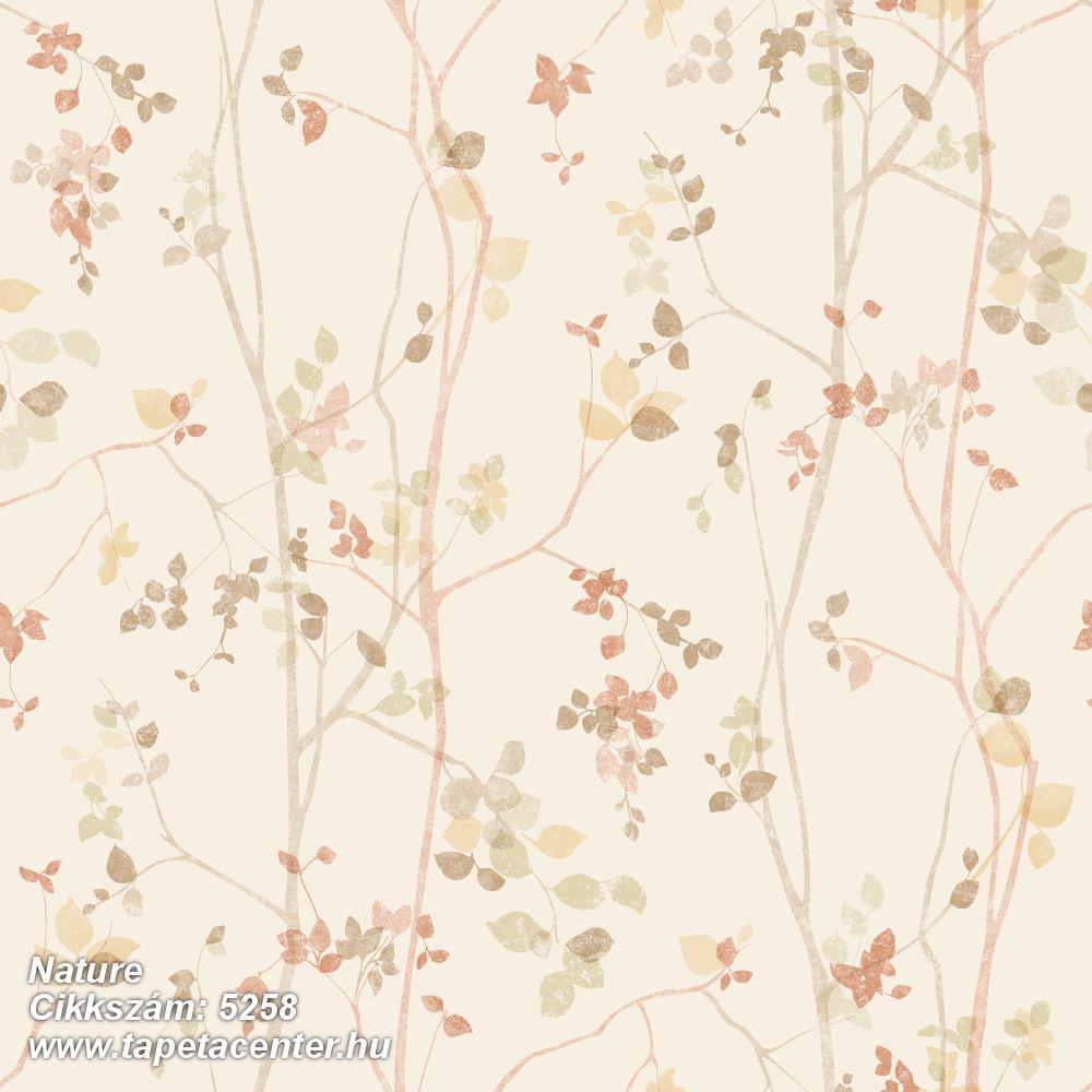 Rajzolt,természeti mintás,barna,bézs-drapp,sárga,lemosható,vlies tapéta