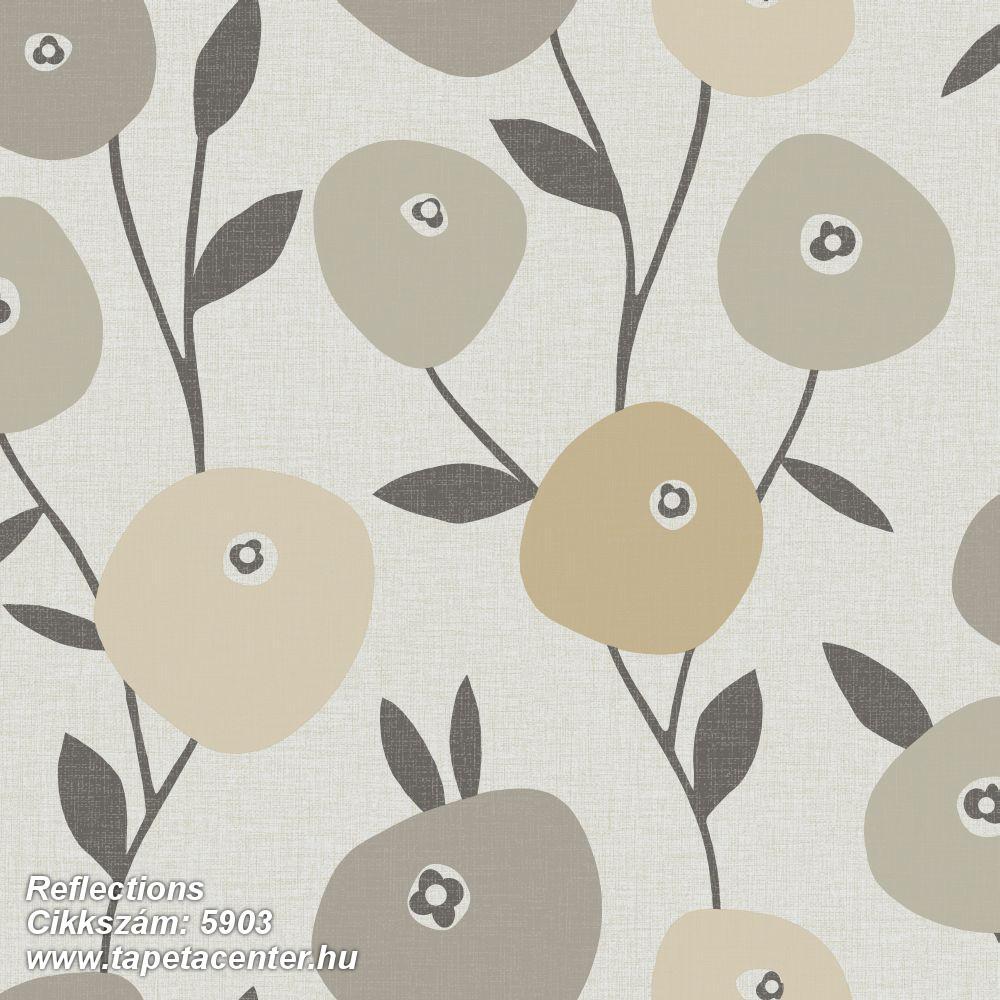 Rajzolt,retro,természeti mintás,virágmintás,bézs-drapp,fehér,sárga,szürke,lemosható,vlies tapéta