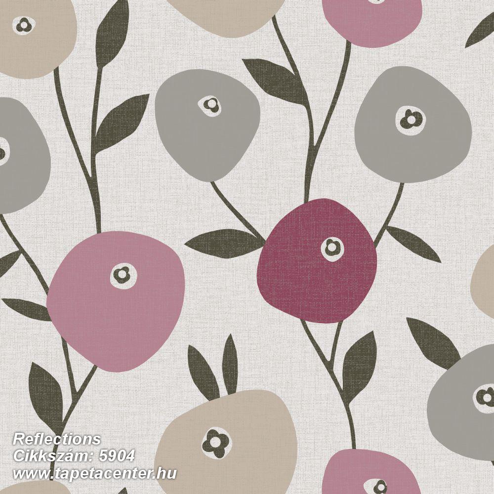 Rajzolt,retro,természeti mintás,virágmintás,bézs-drapp,fehér,pink-rózsaszín,szürke,lemosható,vlies tapéta