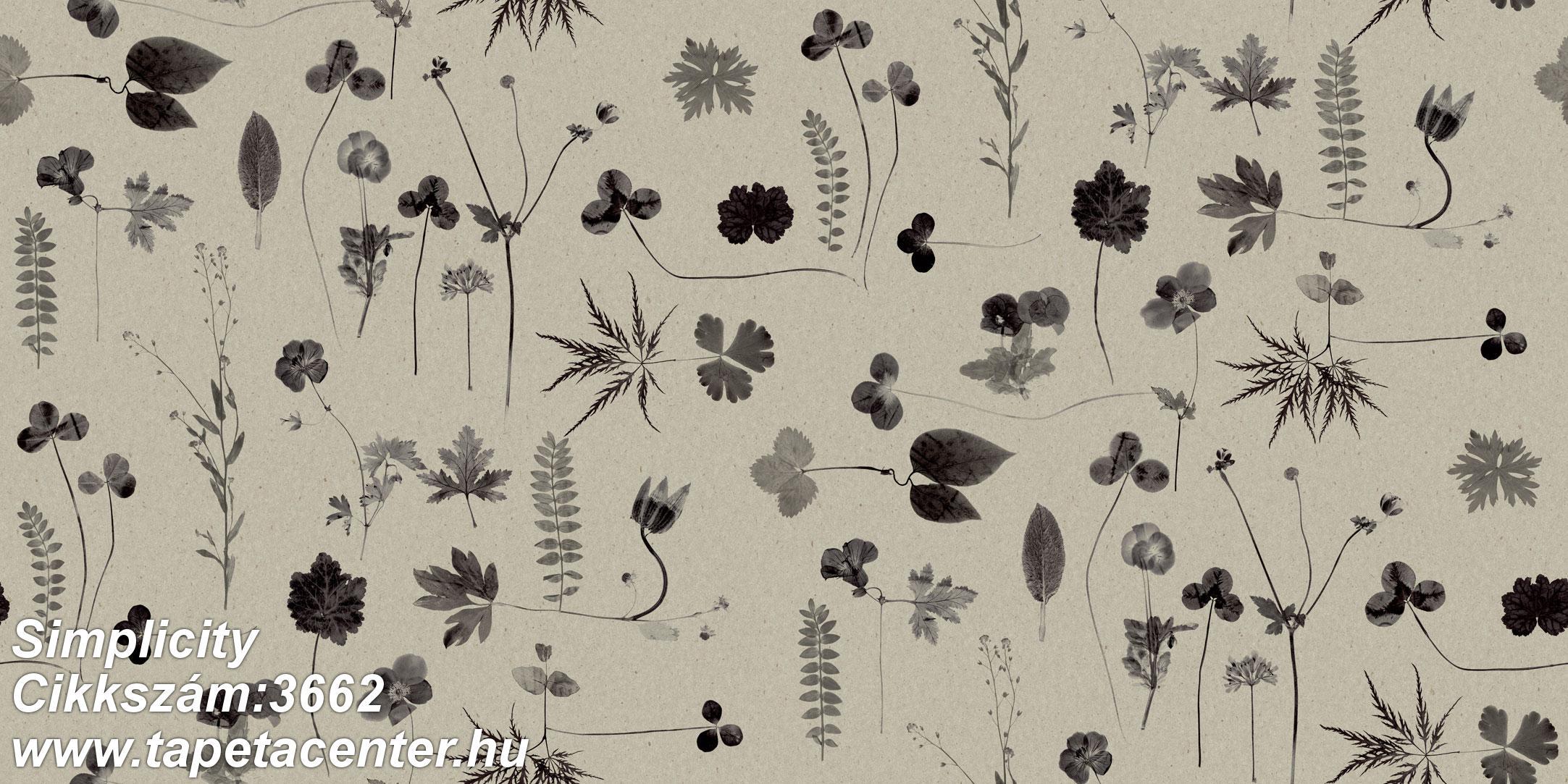 Természeti mintás,virágmintás,fekete,szürke,lemosható,vlies tapéta