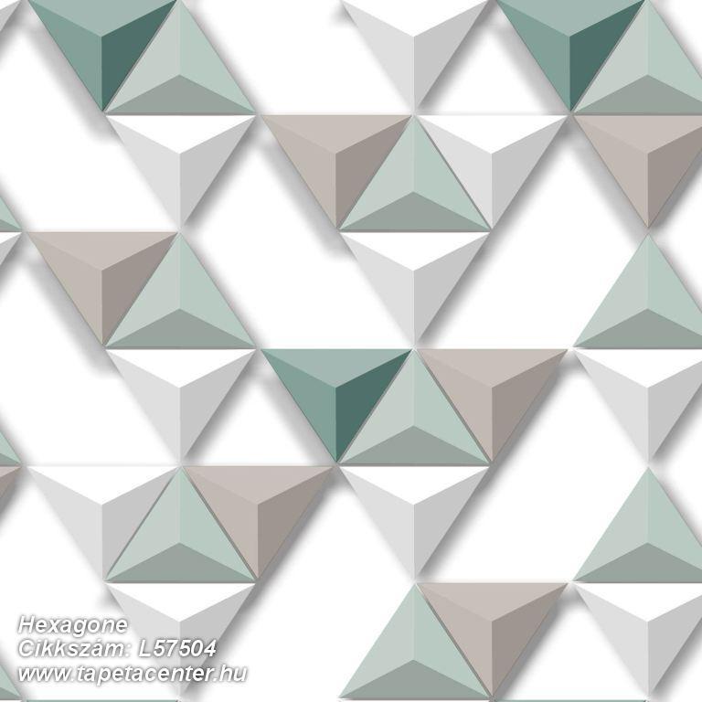 3d hatású,geometriai mintás,különleges felületű,különleges motívumos,barna,bézs-drapp,fehér,türkiz,zöld,lemosható,vlies tapéta