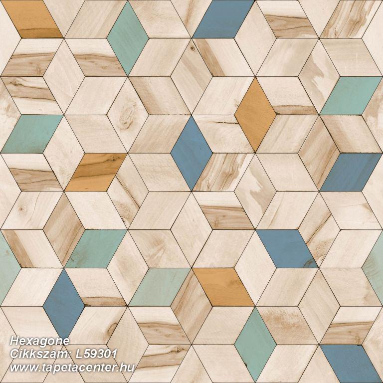 3d hatású,geometriai mintás,különleges felületű,különleges motívumos,barna,bézs-drapp,kék,türkiz,zöld,lemosható,vlies tapéta