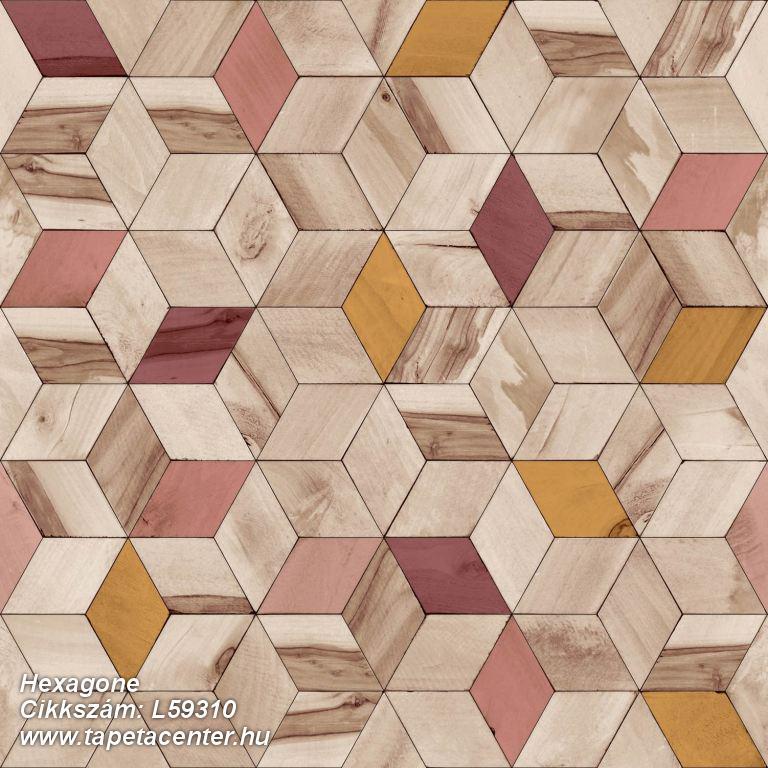 3d hatású,geometriai mintás,különleges felületű,különleges motívumos,barna,bézs-drapp,pink-rózsaszín,piros-bordó,sárga,lemosható,vlies tapéta