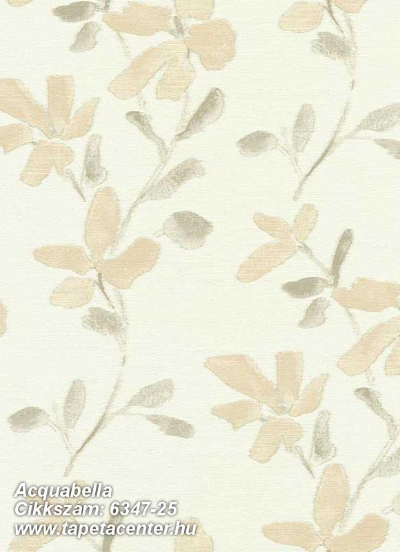Különleges felületű,virágmintás,barna,fehér,sárga,lemosható,vlies tapéta