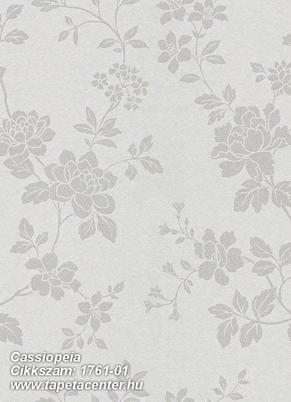 Különleges felületű,metál-fényes,virágmintás,ezüst,gyöngyház,vlies tapéta