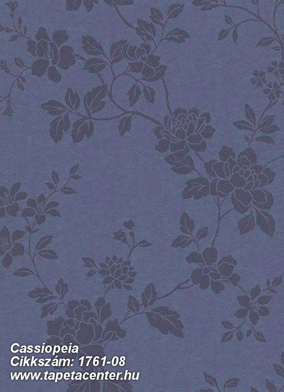 Virágmintás,különleges felületű,metál-fényes,kék,szürke,vlies tapéta