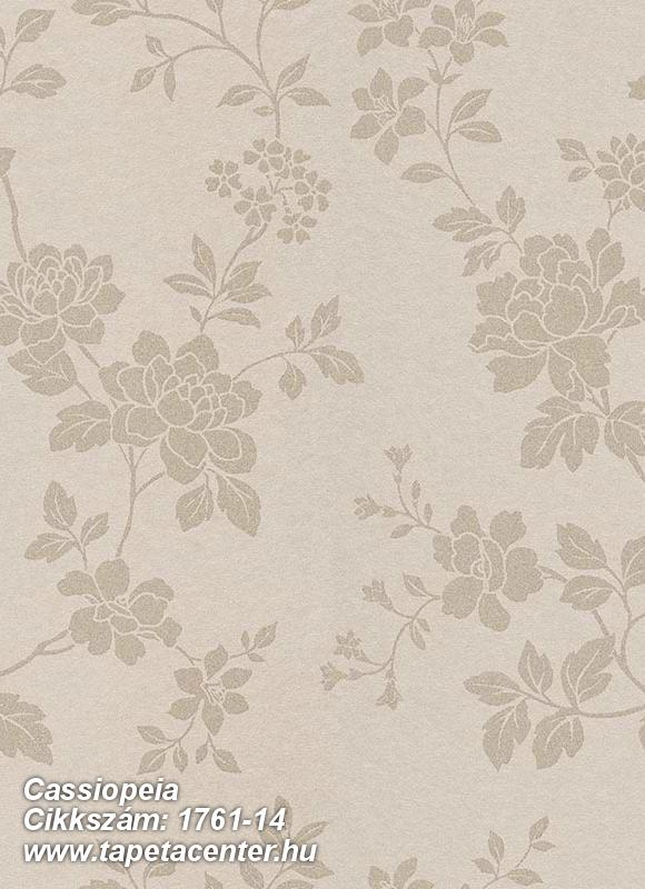 Különleges felületű,metál-fényes,virágmintás,bézs-drapp,vlies tapéta