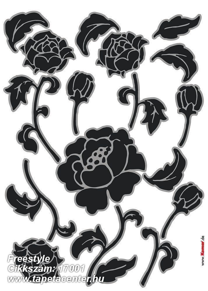 Gyerek,virágmintás,fekete,szürke,anyagában öntapadós falmatrica