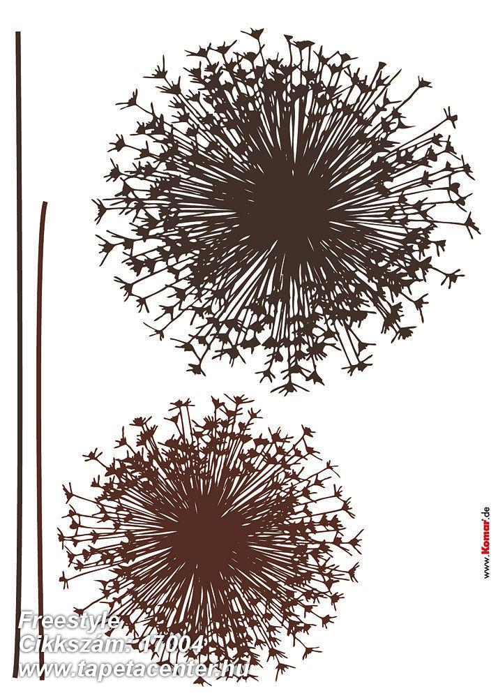 Rajzolt,természeti mintás,virágmintás,barna,anyagában öntapadós falmatrica