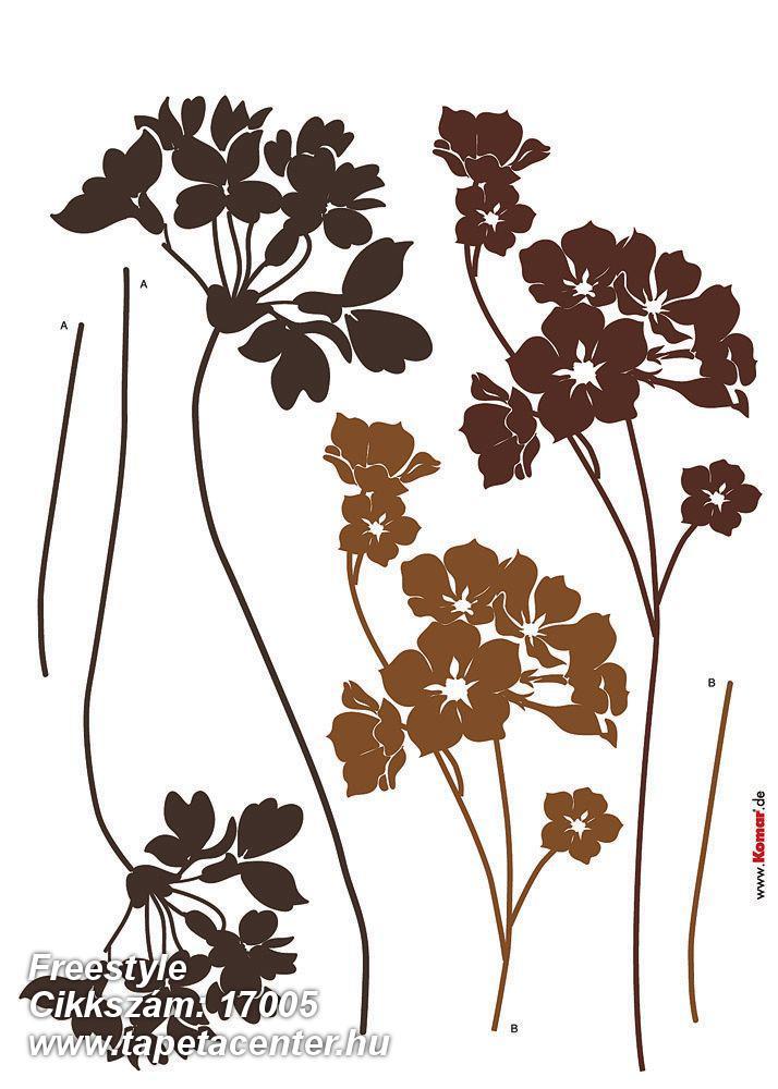 Természeti mintás,virágmintás,barna,bronz,anyagában öntapadós falmatrica