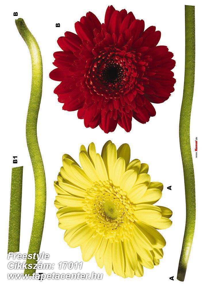 Természeti mintás,virágmintás,piros-bordó,sárga,zöld,anyagában öntapadós falmatrica