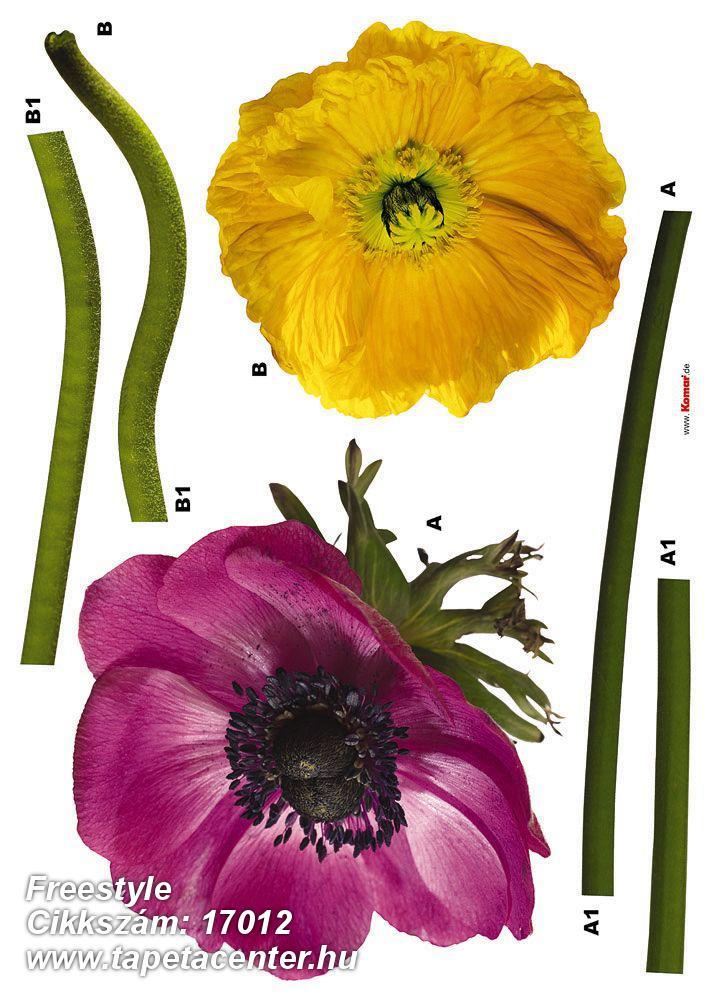 Természeti mintás,virágmintás,lila,pink-rózsaszín,sárga,zöld,anyagában öntapadós falmatrica