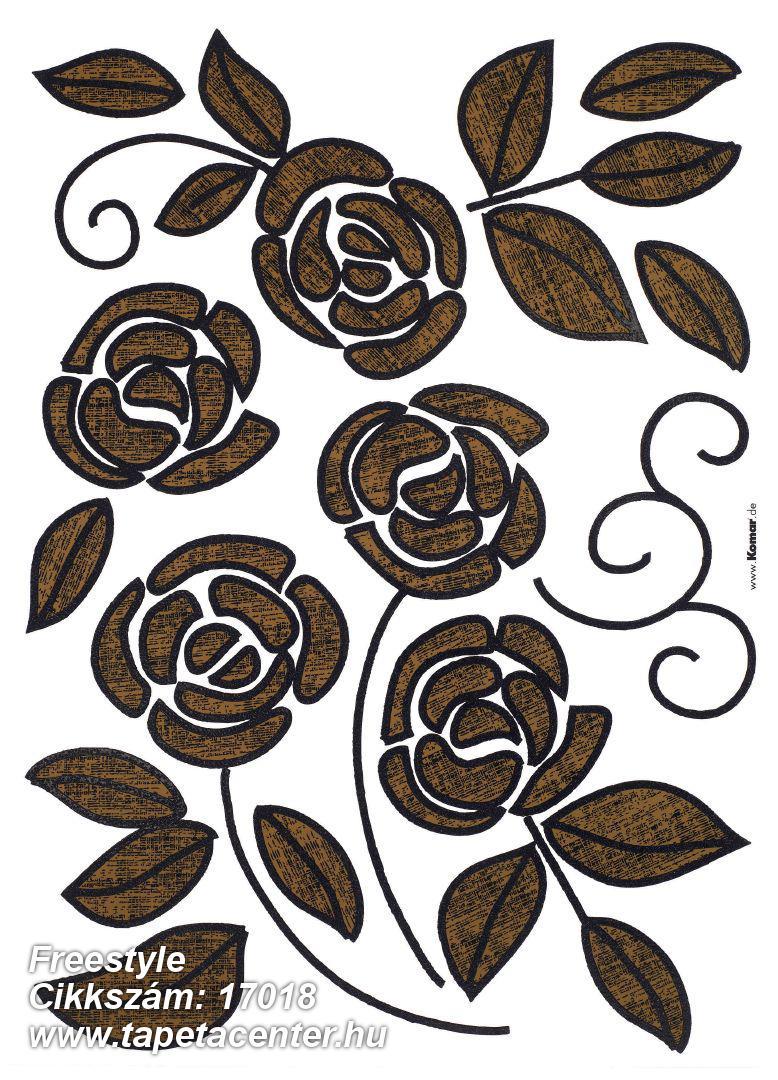 Virágmintás,barna,fekete,anyagában öntapadós falmatrica
