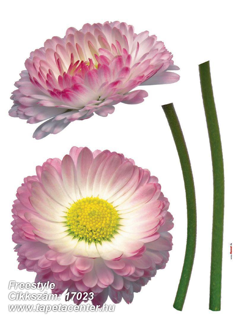 Természeti mintás,virágmintás,pink-rózsaszín,sárga,zöld,fehér,anyagában öntapadós falmatrica