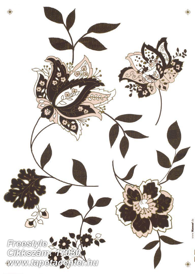 Természeti mintás,virágmintás,barna,fehér,pink-rózsaszín,anyagában öntapadós falmatrica