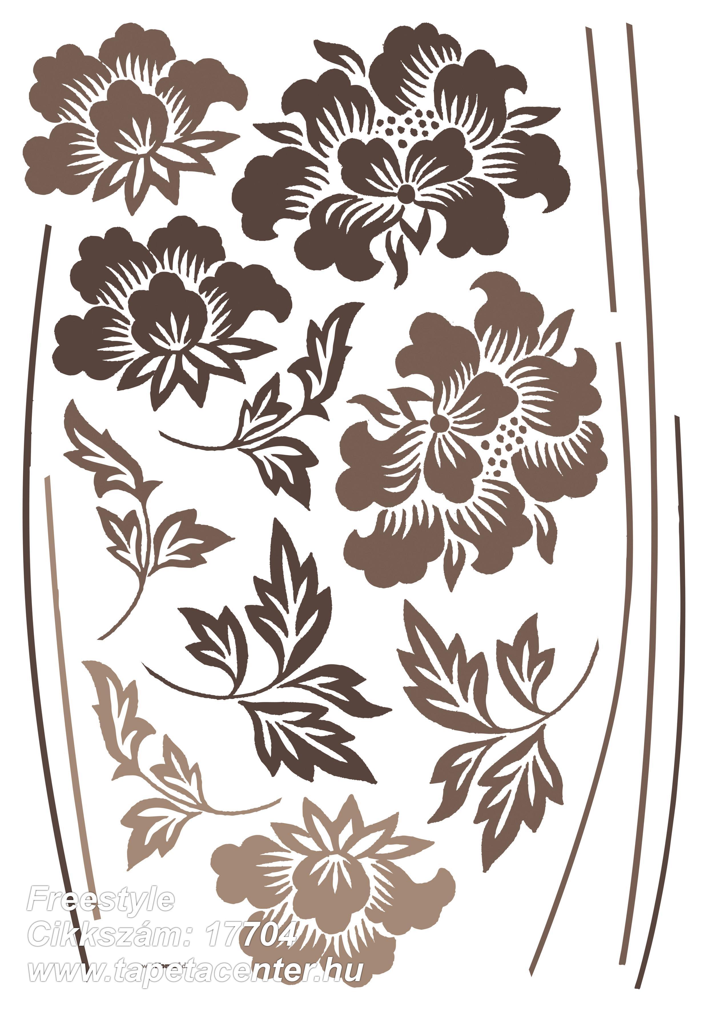 Virágmintás,barna,bézs-drapp,anyagában öntapadós falmatrica