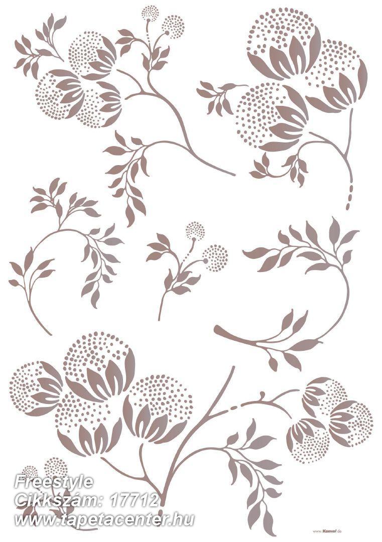 Virágmintás,barna,szürke,anyagában öntapadós falmatrica
