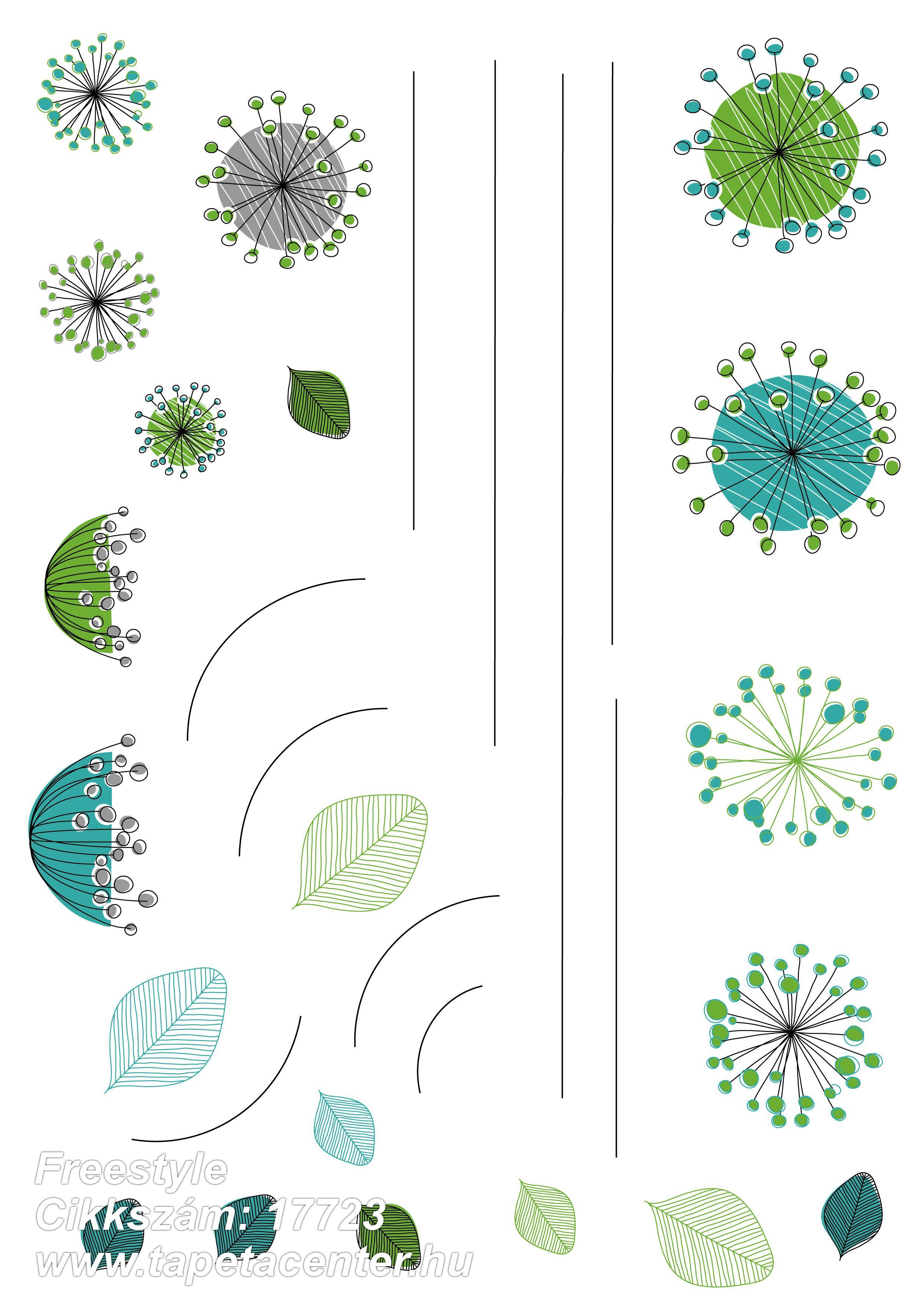 Természeti mintás,barna,kék,szürke,zöld,anyagában öntapadós falmatrica