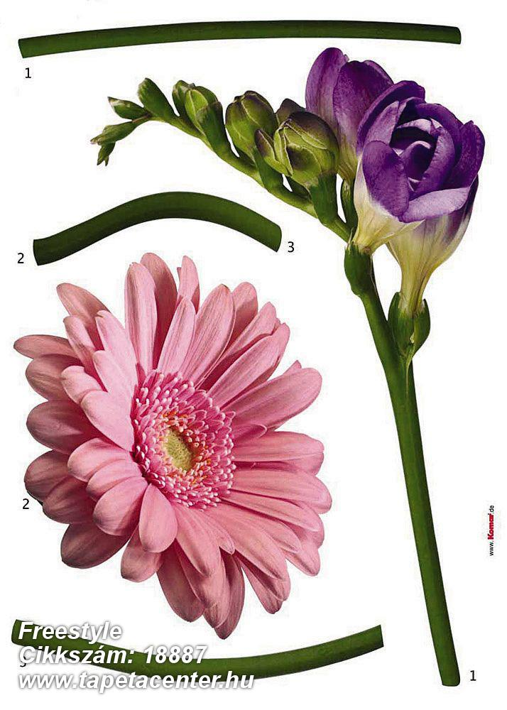 Természeti mintás,virágmintás,lila,pink-rózsaszín,zöld,anyagában öntapadós falmatrica
