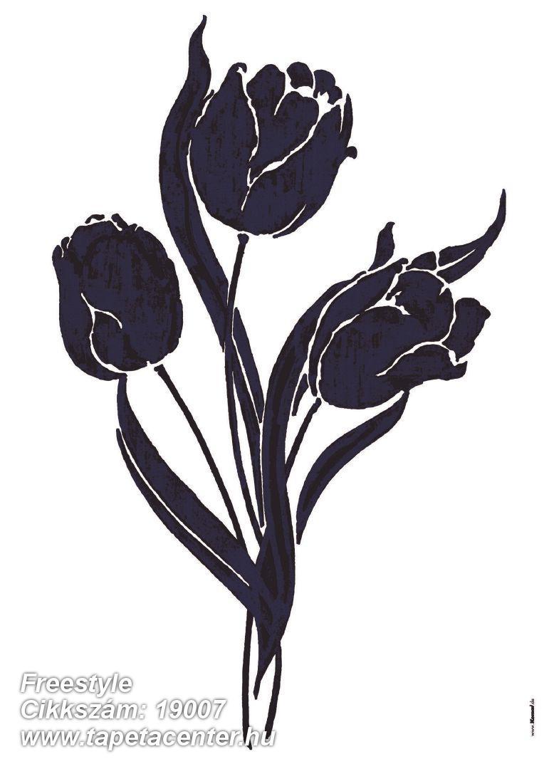 Virágmintás,fekete,lila,anyagában öntapadós falmatrica