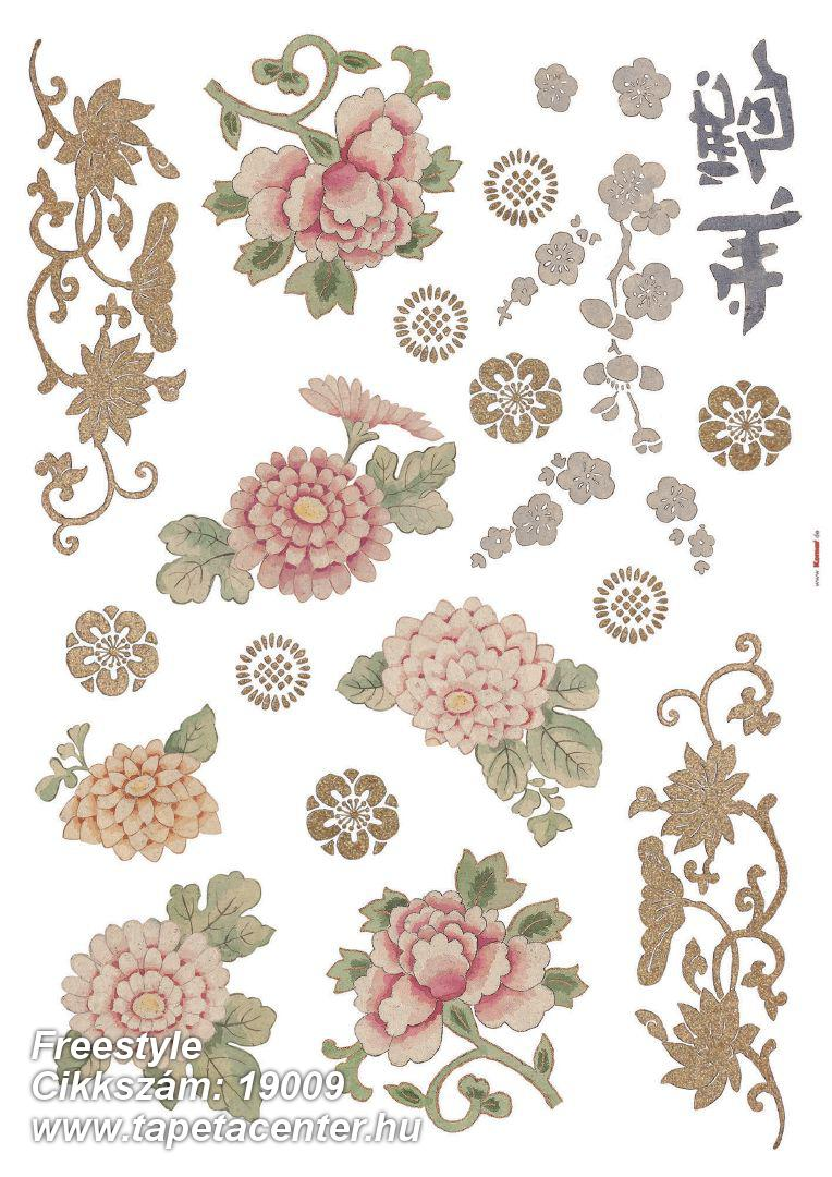 Természeti mintás,virágmintás,bézs-drapp,pink-rózsaszín,piros-bordó,zöld,anyagában öntapadós falmatrica