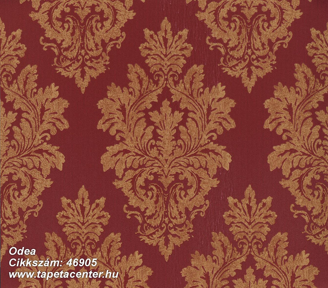 Barokk-klasszikus,különleges felületű,textil hatású,arany,piros-bordó,súrolható,vlies tapéta