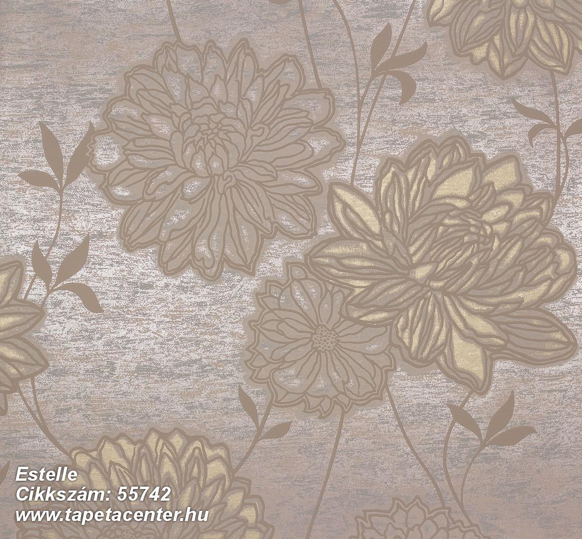 Metál-fényes,virágmintás,barna,bézs-drapp,bronz,lemosható,vlies tapéta