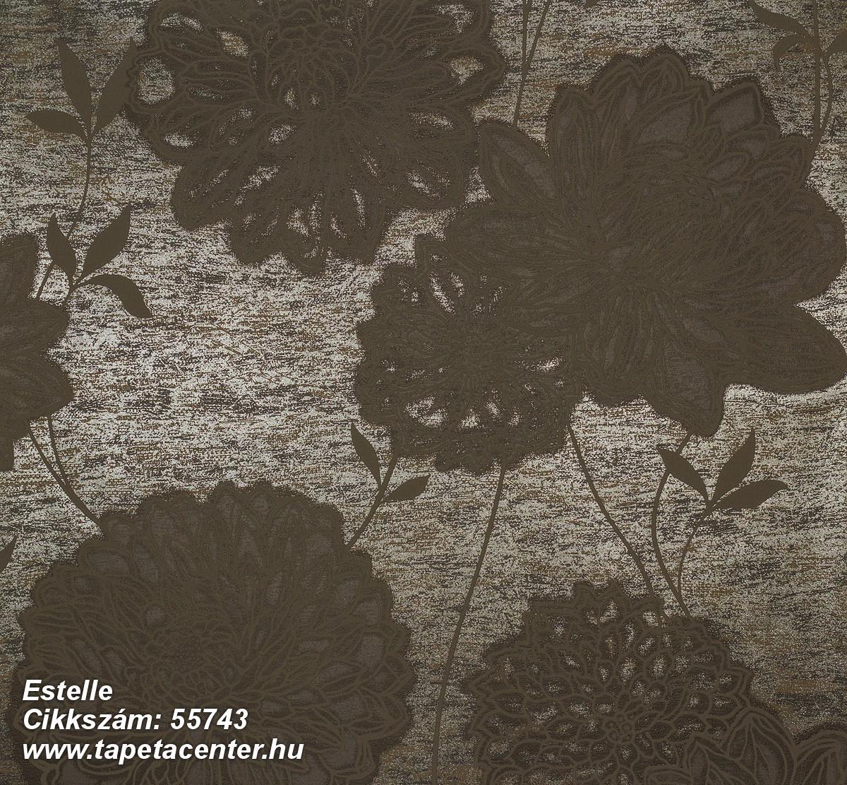 Metál-fényes,virágmintás,barna,bronz,lemosható,vlies tapéta