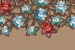 Konyha-fürdőszobai,különleges motívumos,rajzolt,virágmintás,barna,bézs-drapp,kék,piros-bordó,türkiz,gyengén mosható,vlies poszter, fotótapéta
