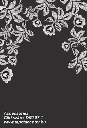 Csipke,különleges motívumos,rajzolt,retro,textilmintás,virágmintás,fehér,fekete,gyengén mosható,vlies poszter, fotótapéta
