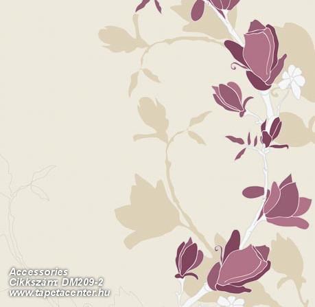 Különleges motívumos,rajzolt,retro,virágmintás,bézs-drapp,fehér,lila,gyengén mosható,vlies poszter, fotótapéta