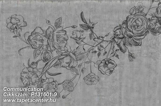 Különleges motívumos,rajzolt,természeti mintás,textil hatású,virágmintás,fekete,szürke,gyengén mosható,vlies poszter, fotótapéta
