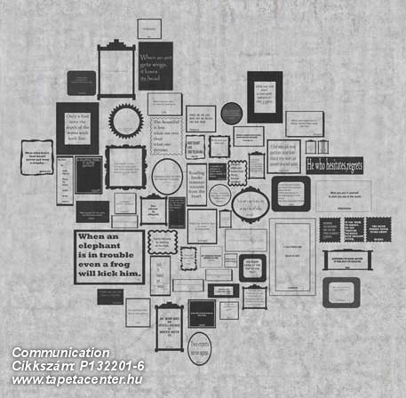 Feliratos-számos,geometriai mintás,rajzolt,retro,fehér,fekete,szürke,gyengén mosható,vlies poszter, fotótapéta